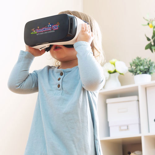 Young girl with VR headset